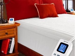 SimplyWarm Electric Heated Channel Quilted Mattress Pad with SENSOR SAFE Overheat Technology