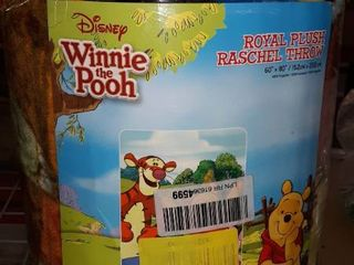 Disney Winnie The Pooh Royal Plush Raschel Throw 79 X 94 Queen Blanket