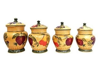European Style Tuscan Fruit Grape Kitchen 4 pc Canister Set