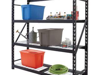 Husky Black 4 Tier Heavy Duty Steel Garage Storage Shelving  77 in  W x 78 in  H x 24 in  D   199 On Retail