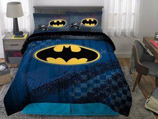 DC Comics Batman Bed in a Bag Bedding Set  Soft Microfiber  Gray Blue  4 Piece Twin