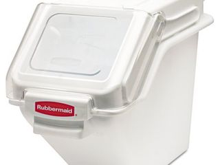 Rubbermaid Commercial ProSave Shelf Ingredient Bins  5 4gal  11 1 2w x 23 1 2d x 16 7 8h  White Retail   138 23