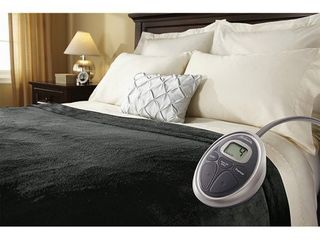 Sunbeam luxurious Velvet Plush King Heated Blanket with 20 Heat Settings  Auto off  2 Digital Controllers  5 Yr Warranty   Charcoal