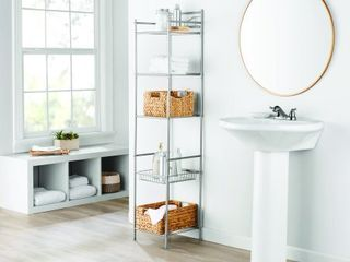 Mainstays 5 Shelf Bathroom Storage Tower with liner  Satin Nickel