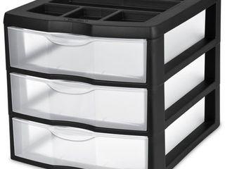Sterilite Medium 3 Drawer Desktop Unit  Black