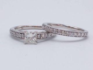 Gorgeous ~1.20 Carat High Grade Diamond Ring and Band Set in 18k White Gold; $5450 Retail