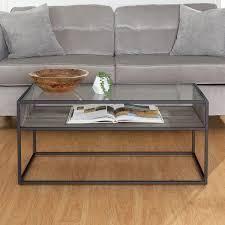 Carbon loft Geller Open Shelf  Glass Top Coffee Table  Retail 131 74
