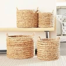 The Curated Nomad Rodgers 4 piece Round Water Hyacinth Wicker Baskets Set  Retail 131 99