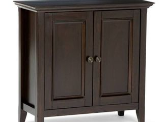 WYNDENHAll Halifax SOlID WOOD 32 inch Wide Transitional low Storage Cabinet   32 w x 14 d x 31  h  Retail 267 99
