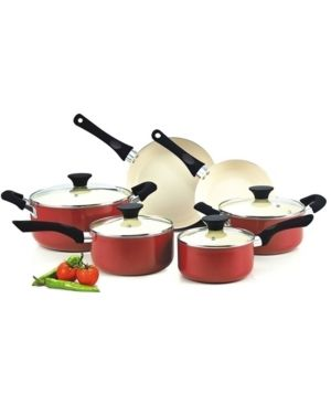 Cook N Home 10 Piece Nonstick Ceramic Coating Cookware Set  Red  Retail 84 99