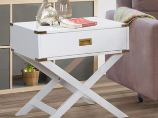 Furniture of America Yore Contemporary Solid Wood 1 drawer End Table  Retail 129 49