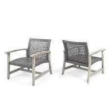 Hampton Outdoor Mid century Wicker Club Chair  Set of 2  by Christopher Knight Home  Retail 282 99