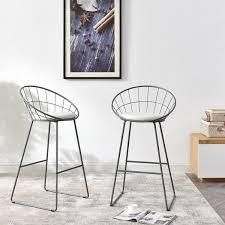 Carson Carrington Banne Wrought Iron Modern Extra Tall Barstool  Set of 2  Retail 201 99