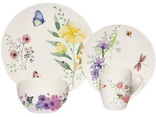 Melange 32 Pcs Place Setting Premium Porcelain Dinnerware Set  Butterfly Garden Collection  Service for 8   8 Each  Retail 112 74