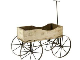 Wood Wagon 4 Wheels White  Retail 141 49