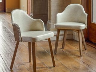 Corvus Metz Mid Century Bonded leather Bamboo Accent Chairs  Set of 2  Retail 233 49