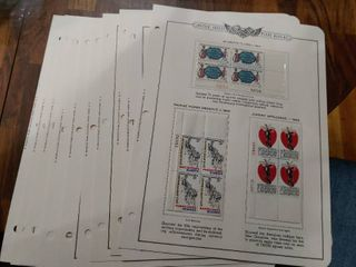 lot of 11 United States Plate Block Album Pages   29 Total Plate Blocks