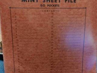 Vintage Merit Mint Sheet File   Includes 34 Assorted Mint Stamp Sheets