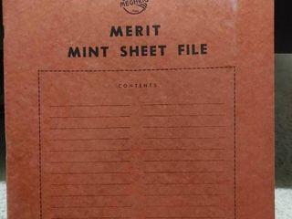 Vintage Merit Mint Sheet File Book   Includes 19 Assorted Mint Stamp Sheets