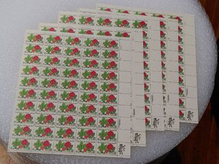 lot of 5 Mint Stamp Sheets of 1982 s International Peace Garden 20 Cent Stamps   Scott Number   2014