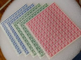 lot of 5 Mint Stamp Sheets of 1954 s liberty Series  x1  Jefferson 2c Stamps   x2  Washington 1c Stamps   x2  Monroe 5c Stamps   Scott Numbers   1033  1031    1038