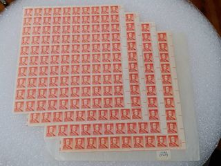 lot of 4 Mint Stamp Sheets of 1955 s liberty Series Benjamin Franklin 1 2 Cent Stamps   Scott Number   1030