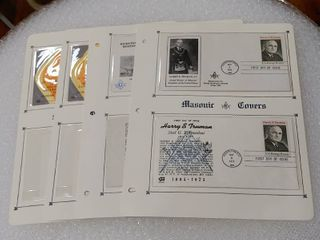lot of 4 Masonic Covers Pages with Protected Inserted First Day Covers