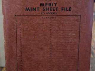 Vintage Merit Mint Sheet File Book   Includes 29 Assorted Mint Stamp Sheets