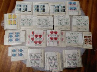lot of Over 70 Stamps and Stamp Plate Blocks   Most Plate Blocks Have Unique Set Positions and Same Plate Number