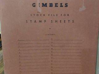 Vintage Gimbels Mint Sheet File Book   Includes 12 Assorted Mint Stamp Sheets