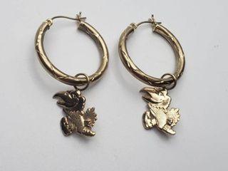 14K Yellow Gold Kansas University Earrings   3 7g