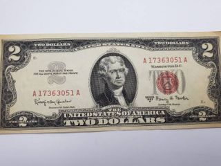 1963 A  2 Dollar Note Red Seal
