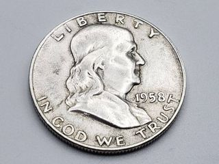 1958 D Franklin Half Dollar 90  Silver