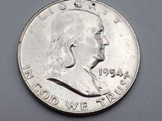 1954 D Franklin Half Dollar 90  Silver