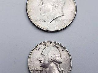 1964 Kennedy Half Dollar and 1963 Washington Quarter