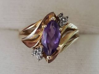 14K Three Stone Marquise Amethyst Diamond Accent Yellow Gold Ring Size 7   Amethyst is 10mm