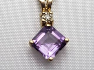 14K Yellow Gold Amethyst with Diamond Accent Necklace   14 in    Amethyst is 8mm
