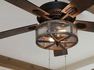Carbon loft 52  Shettler 5 blade Woodgrain Caged Farmhouse lED Ceiling Fan w  Pull Chain