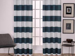 Porch   Den Ocean Striped Window Curtain Panel Pair w  Grommet Top   Set of 2