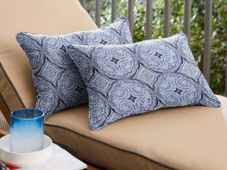 Blue Medallion Corded lumbar Pillows   Set of 2
