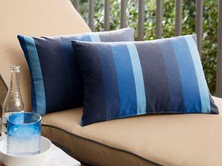 Sunbrella Indigo Blue Stripe Indoor Outdoor lumbar Pillows   Set of 2