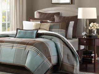 Copper Grove Geneva Blue Brown 8 Piece Comforter Set   King