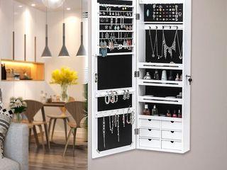 42  Wall Door Mounted Jewelry Storage Mirror Cabinet