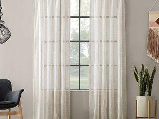 Clean WindowTextured Slub Stripe Anti Dust Curtain Panels   Set of 2