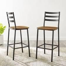 Carbon loft ladder Back Counter Stools  Set of 2  Retail 149 99 reclaimed wood
