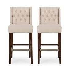 Bayliss Contemporary Wingback Fabric Barstools  Set of 2  by Christopher Knight Home  Retail 303 99 charcoal and espresso