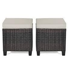 Set of 2 Outdoor Patio Rattan Ottomans Cushioned Wicker Stools  Retail 128 49 brown
