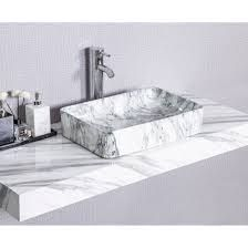 CB HOME Modern Marble Pattern Ceramic Basin Rectangle Vessel Sink  Retail 117 99 light grey