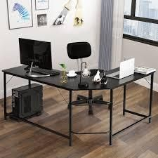 Modern l shaped Computer Desk Corner Office laptop Gaming Table  Retail 147 99 black