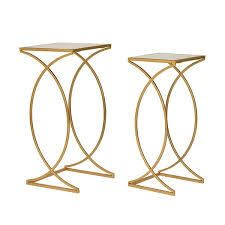 glitzhome metal with glass gold accent tables set of 2